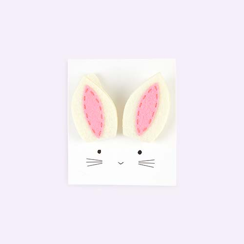 White Meri Meri Bunny Ear Hair Clips