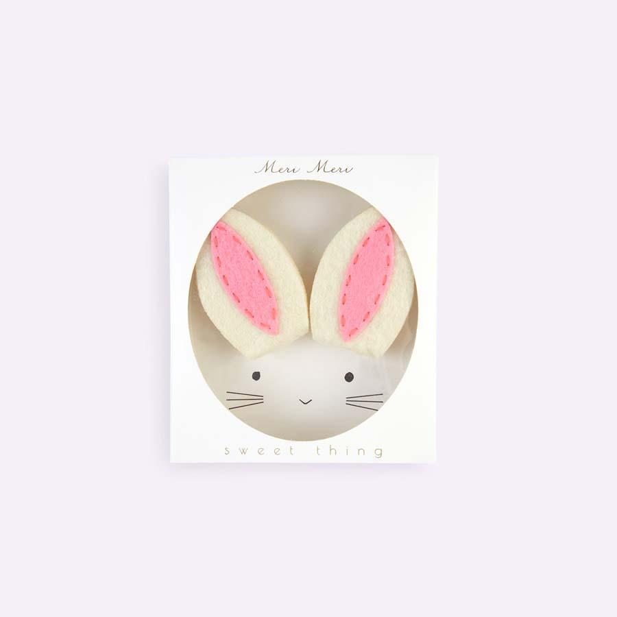 White Meri Meri Bunny Ear Hair Clips