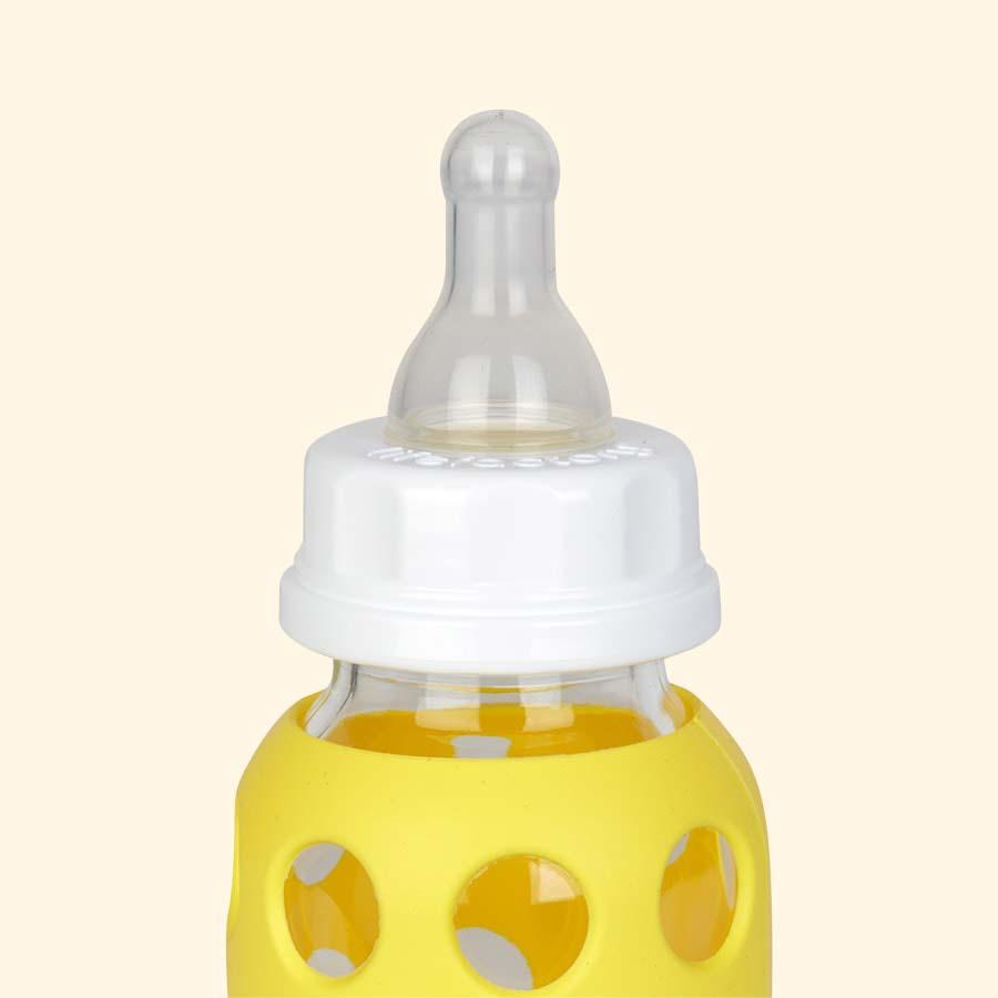 Banana Lifefactory 4oz Glass Baby Bottle