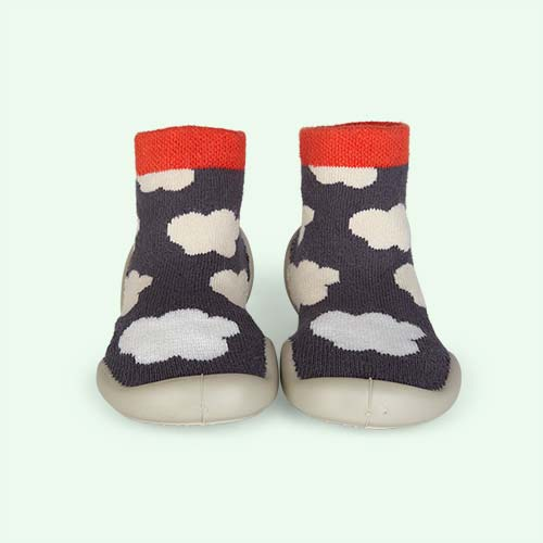 Grey Collegien Glow In The Dark Cloud Slipper Socks