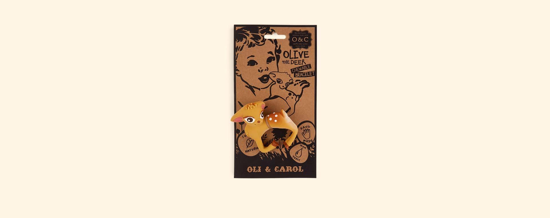 Brown Oli & Carol Olive the Deer Teething Bracelet