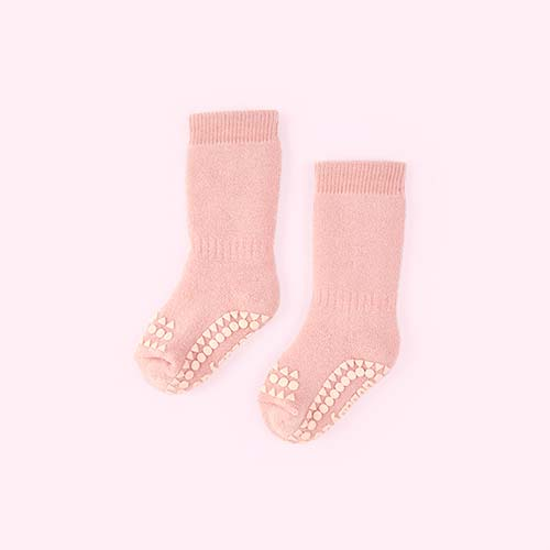 Dusty Rose Go Baby Go Non-Slip Socks
