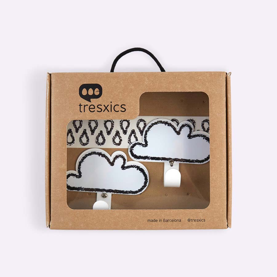 White Tresxics Cloud Hooks & Raindrop Wall Stickers Set