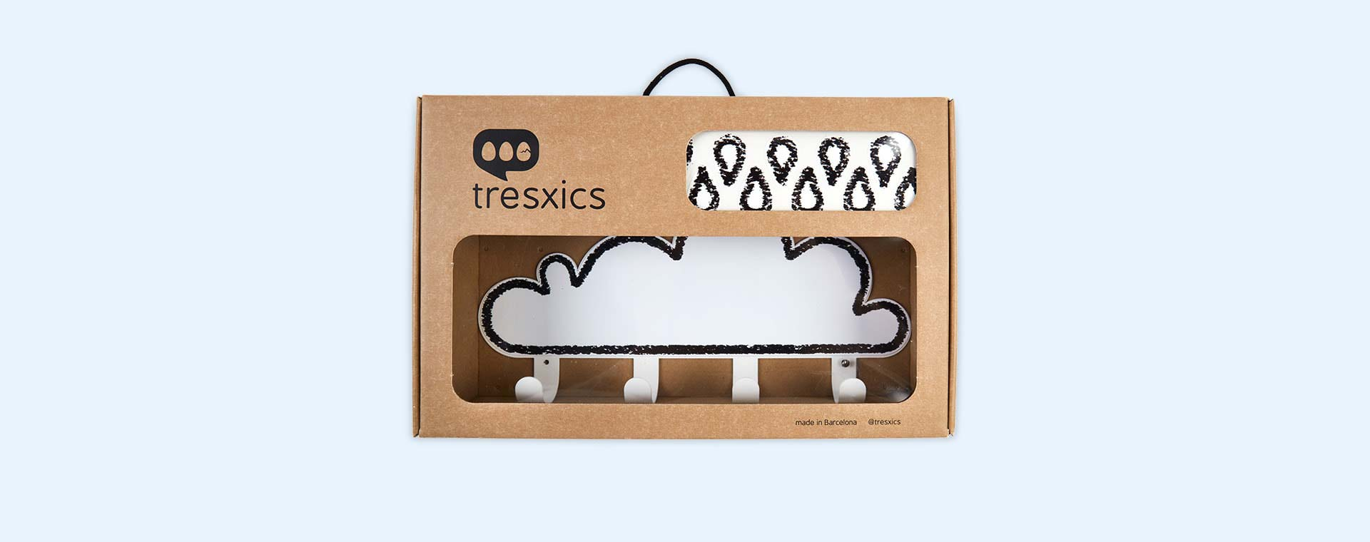 White Tresxics Big Cloud Hook & Raindrops Wall Stickers Set