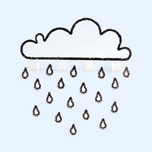 White Tresxics Big Cloud Hook & Raindrops Wall Stickers Set