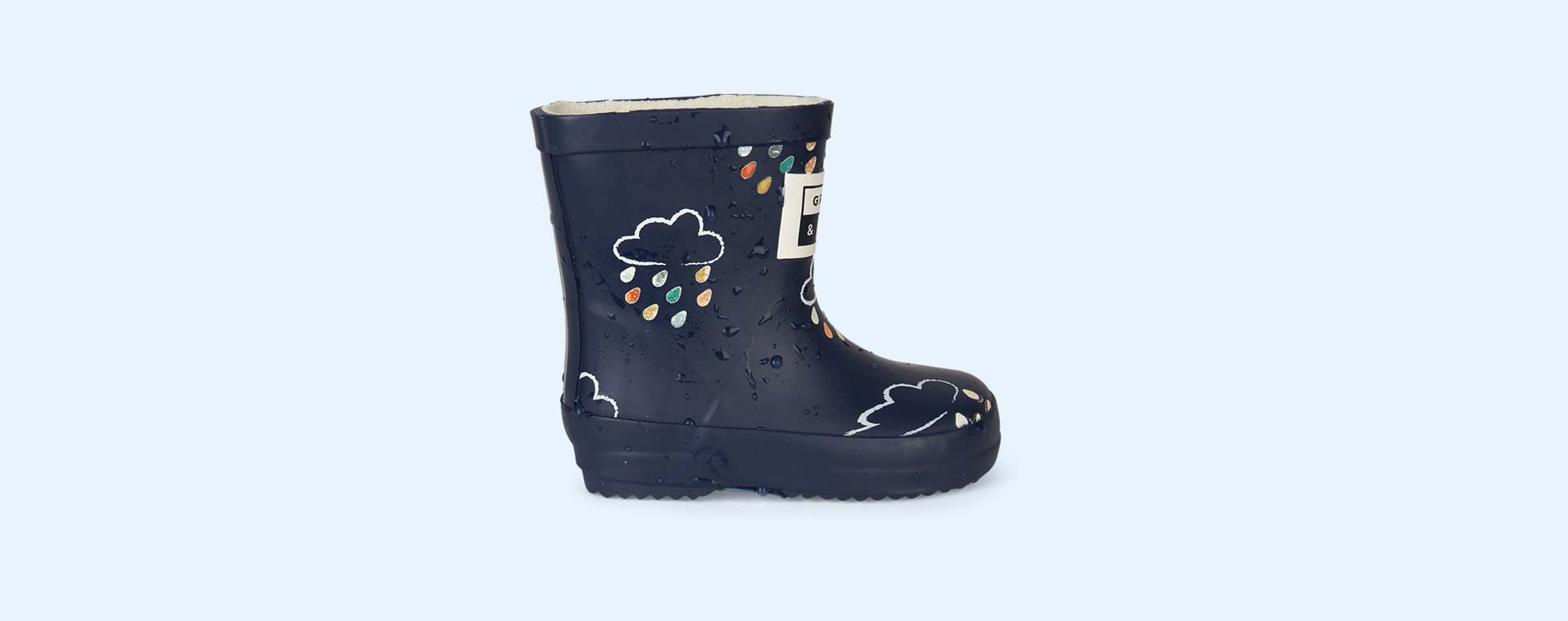 Navy Grass & Air Kids Colour-Revealing Wellies