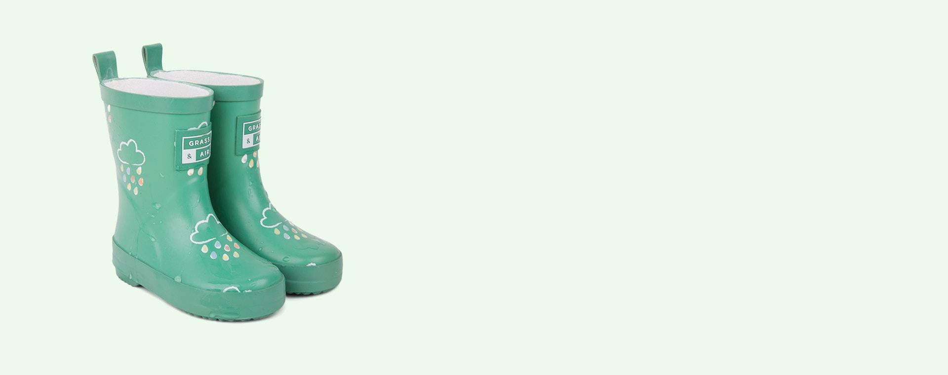 Jade Grass & Air Kids Colour-Revealing Wellies