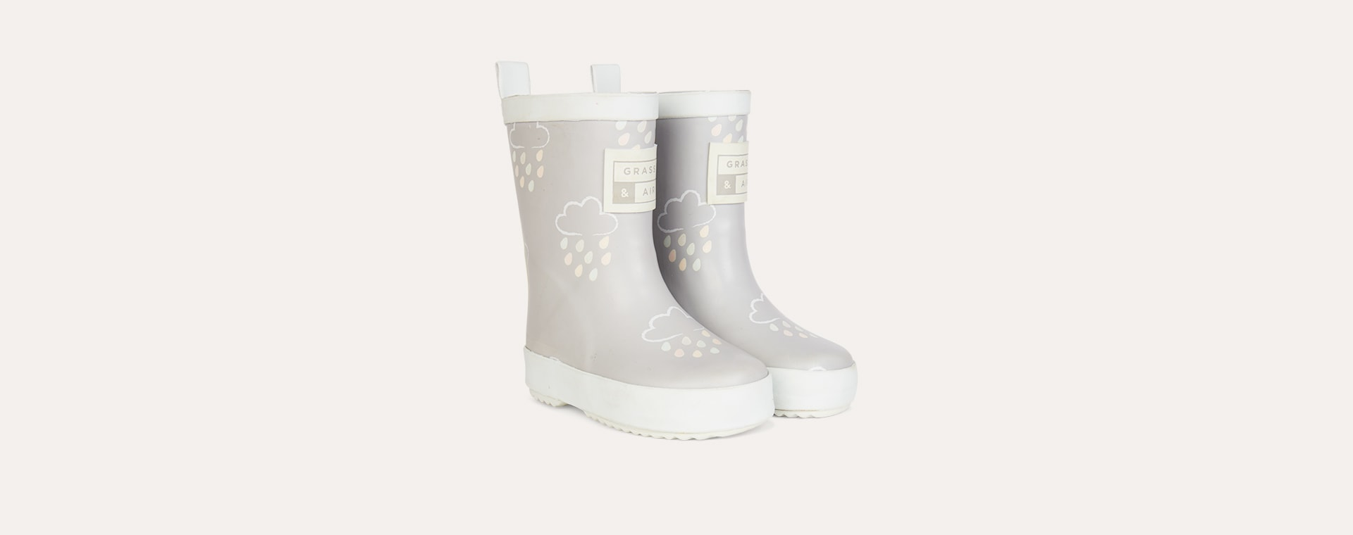 Light Grey Grass & Air Kids Colour-Revealing Wellies