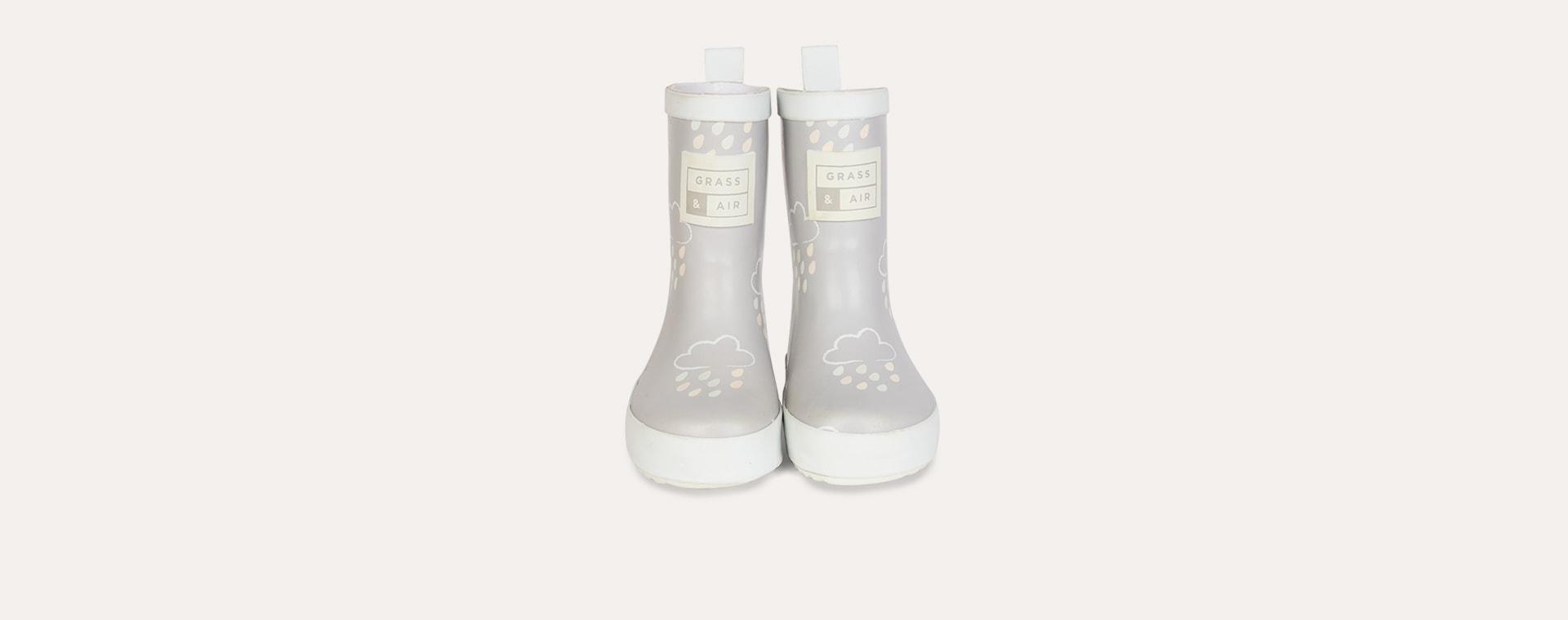 Light Grey Grass & Air Kids Colour-Revealing Wellies