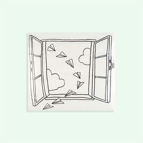 Black Chispum Planes Window Wall Sticker
