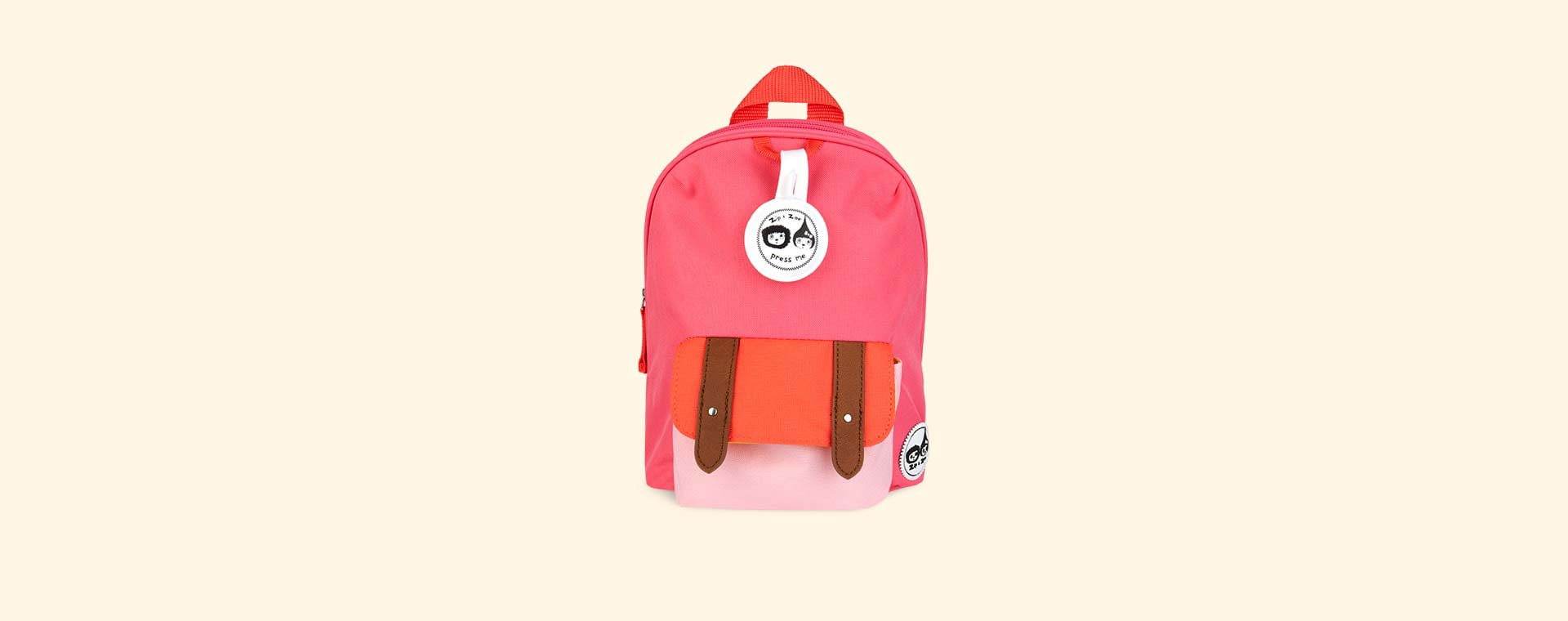 Pink Colour Block Babymel Mini Backpack with Rein