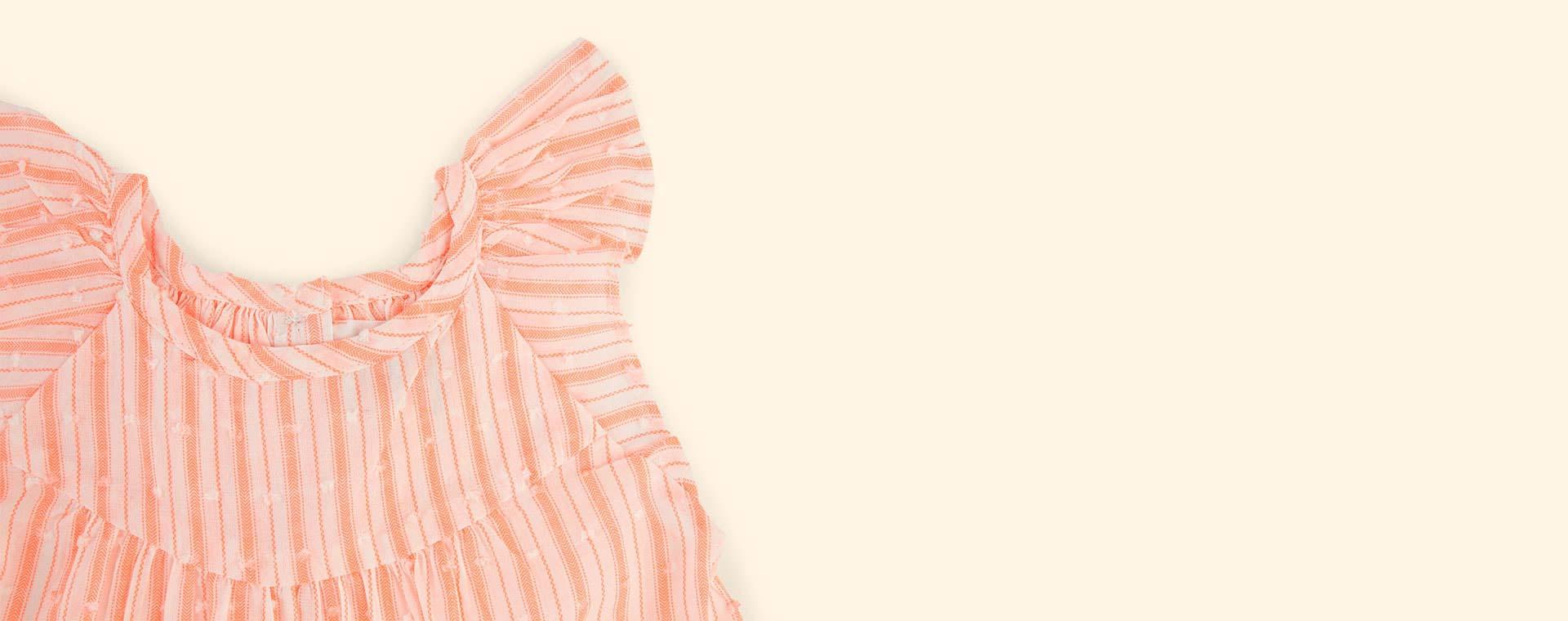 Fluorescent Coral Stripe Bonheur Du Jour Calista Top
