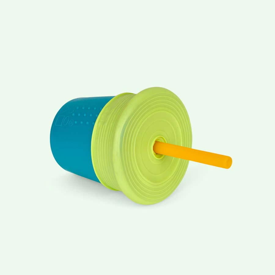 Teal with Lime Top Go Sili Silicone Cup with Straw Set