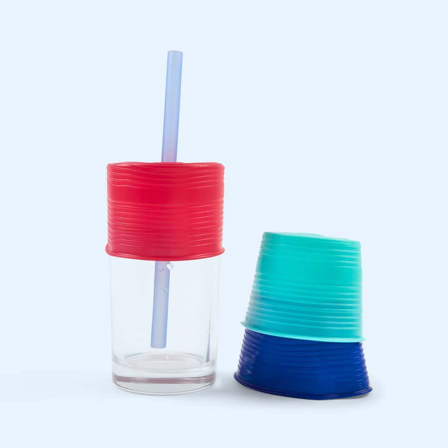 Sea/Berry/Colbalt Go Sili Cup Toppers with Straw 3 Pack