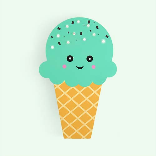 Mint Smiling Faces Ice Cream Light