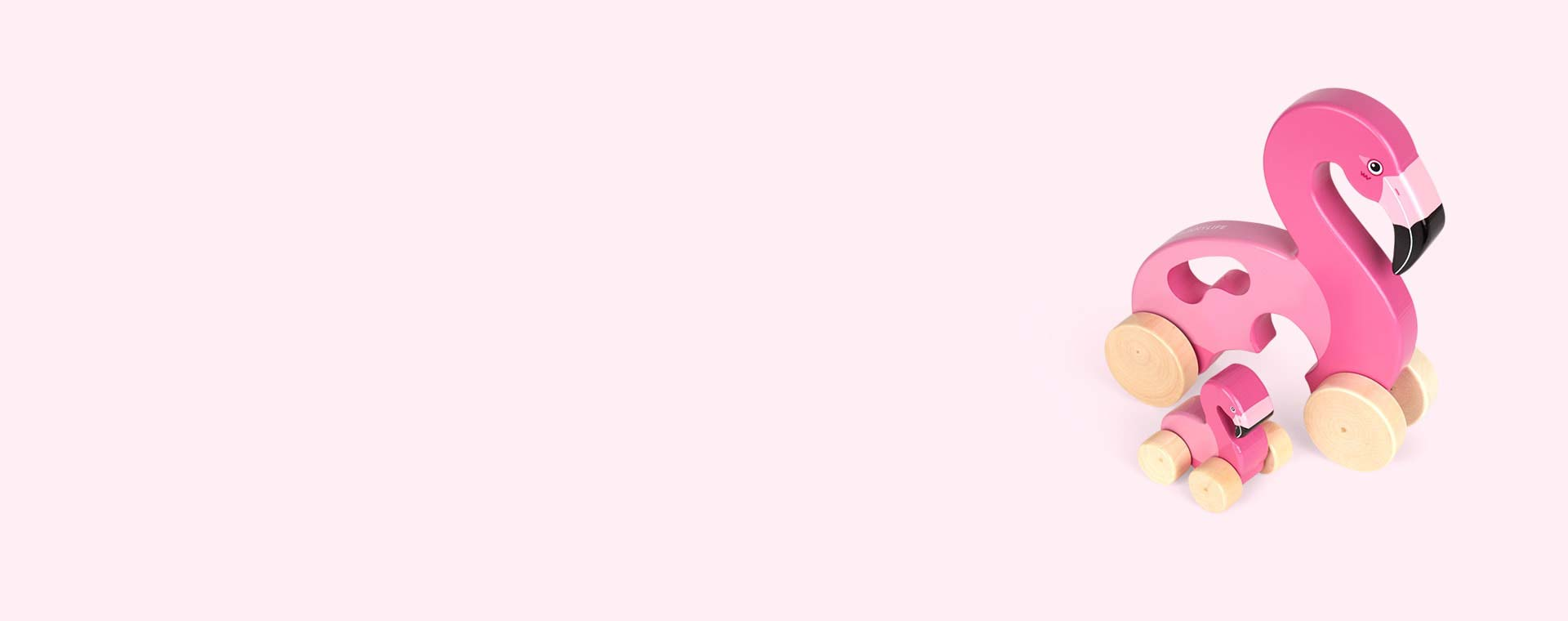 Pink Sunnylife Push And Pull Along Flamingo Toy