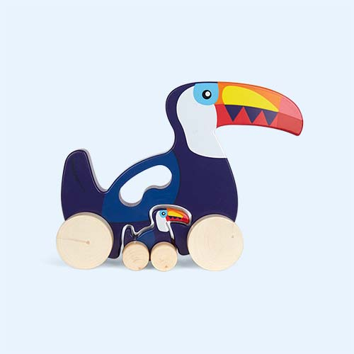 Blue Sunnylife Push And Pull Along Toucan Toy
