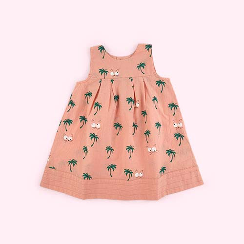 Vintage Pink La Queue du Chat Palm Tree Baby Dress