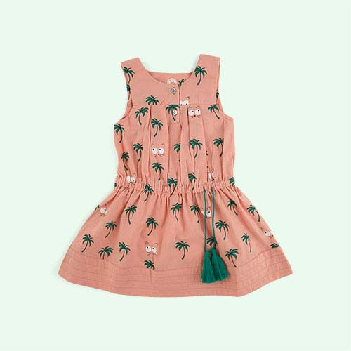 Vintage Pink La Queue du Chat Palm Tree Dress