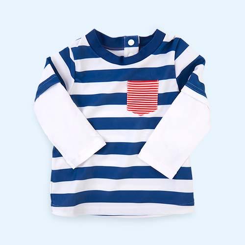 Multi Sunuva Baby Stripe Paper Boat Rash Vest