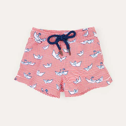 Red Sunuva Baby Stripe Paper Boat Swim Shorts