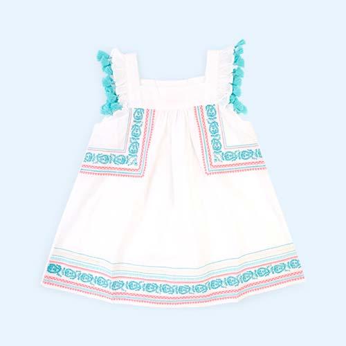White Sunuva Paisley Flutter Dress