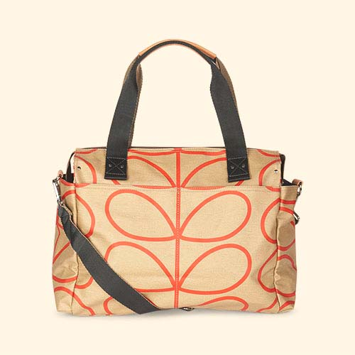 Stone Linear Stem Orla Kiely Zip Messenger Baby Bag
