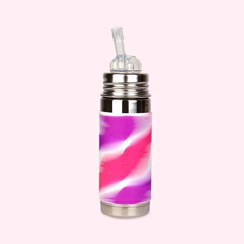 Pink Swirl Pura 9oz Insulated Straw Bottle