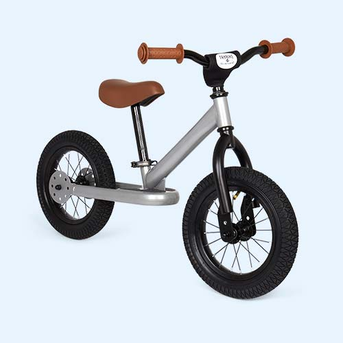 Silver Metallic TRYBIKE Steel 2-in-1 Bike