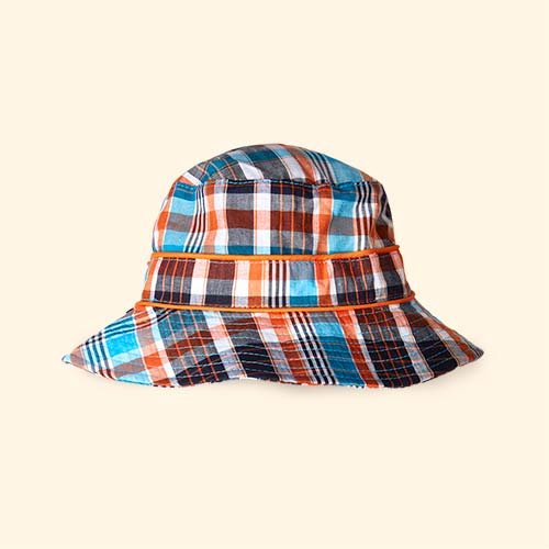 Teal & Orange Check Banz Bubzee Sun Hat