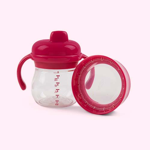Raspberry Oxo Tot Transitions Hard Spout Sippy Cup Set