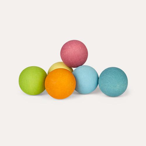 Pastel Grimm's 6 Rainbow Wooden Balls
