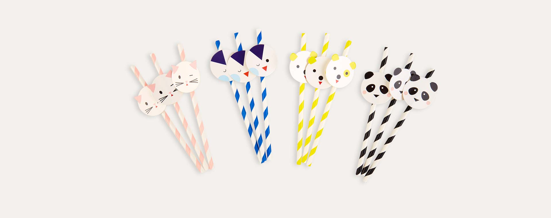 Multi My Little Day Mini Animal Paper Straws 12 Pack