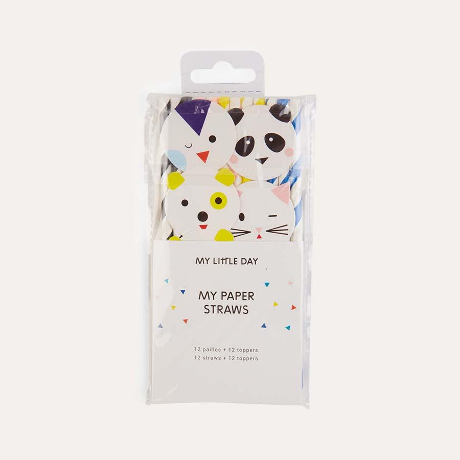 Multi My Little Day Mini Animal Paper Straws 12 Pack