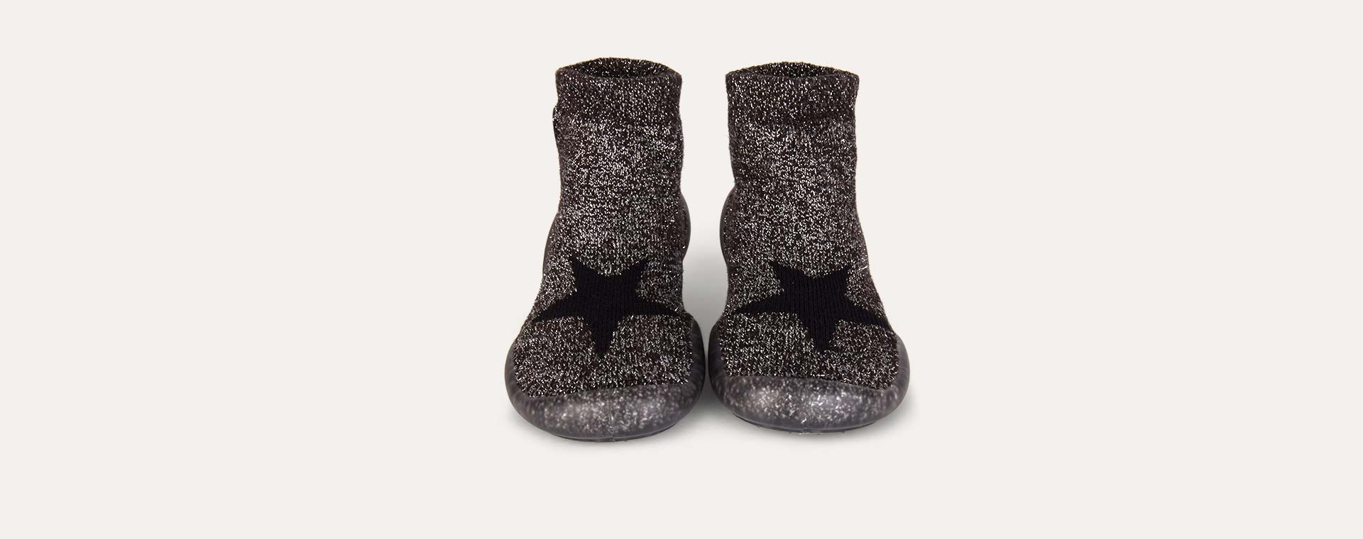 Sparkly Black Collegien Sparkly Star Slippers