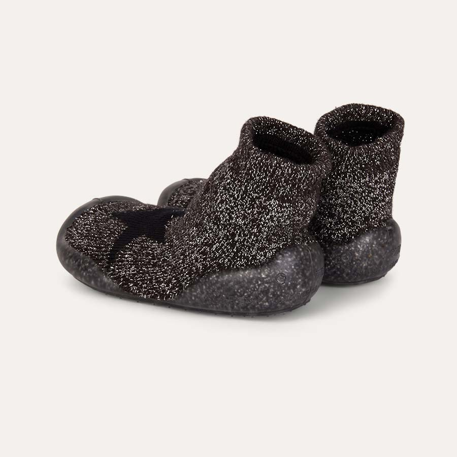 Sparkly Black Collegien Sparkly Star Slippers