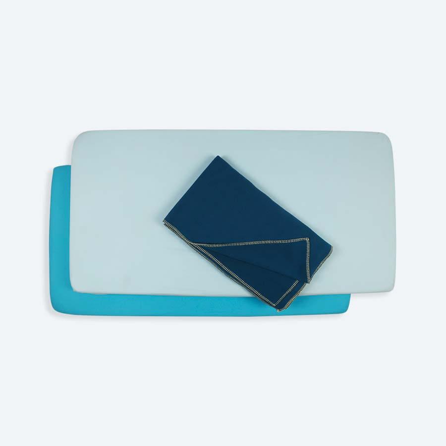 Blue KIDLY Cot Bed Bedding Bundle