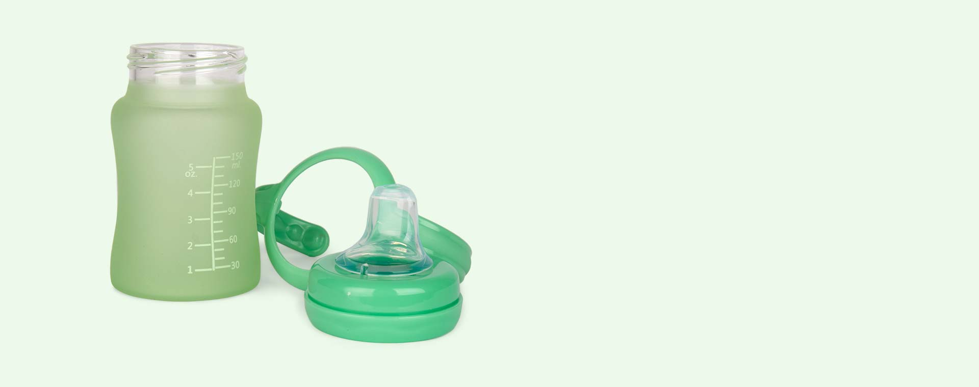 Green Everyday Baby Glass Sippy Cup