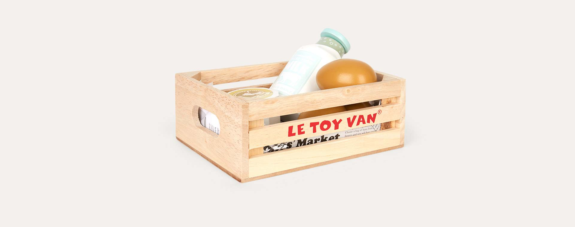 Multi Le Toy Van Egg And Dairy Crate Set