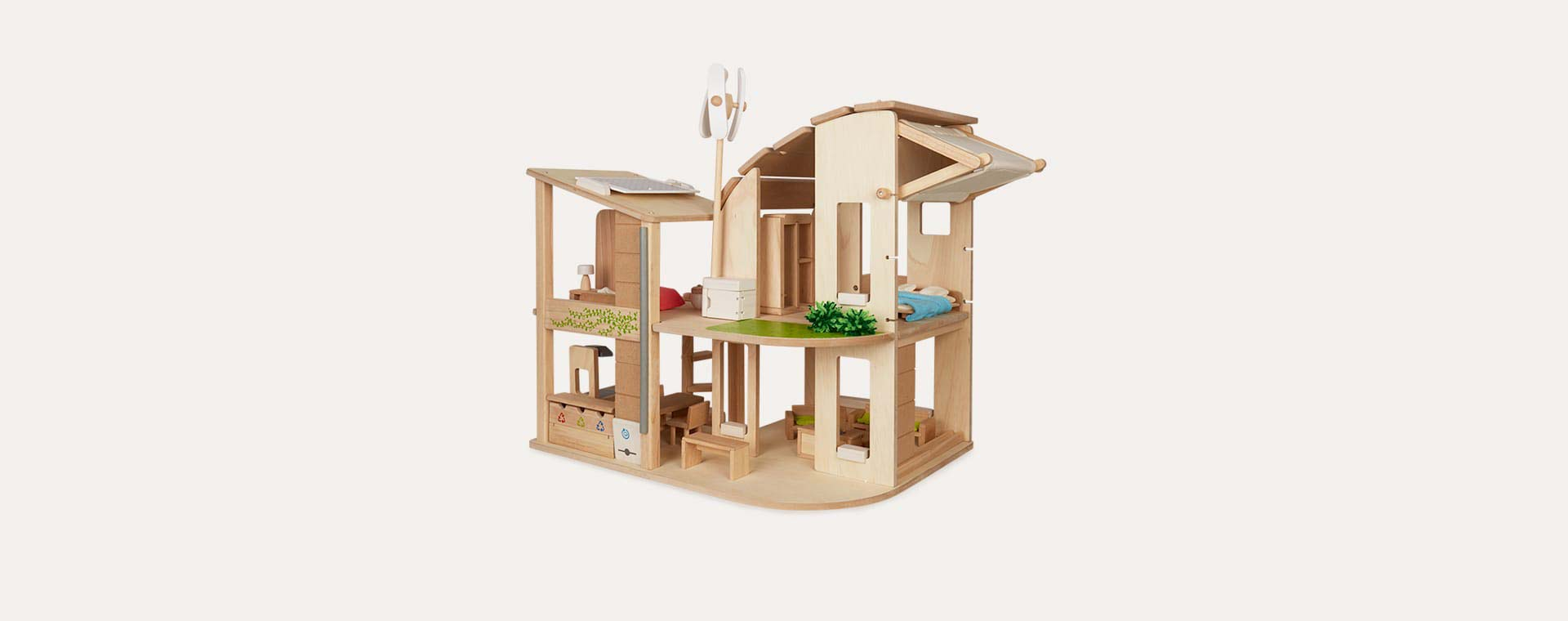 Neutral Plan Toys Green Dollhouse With Furniture