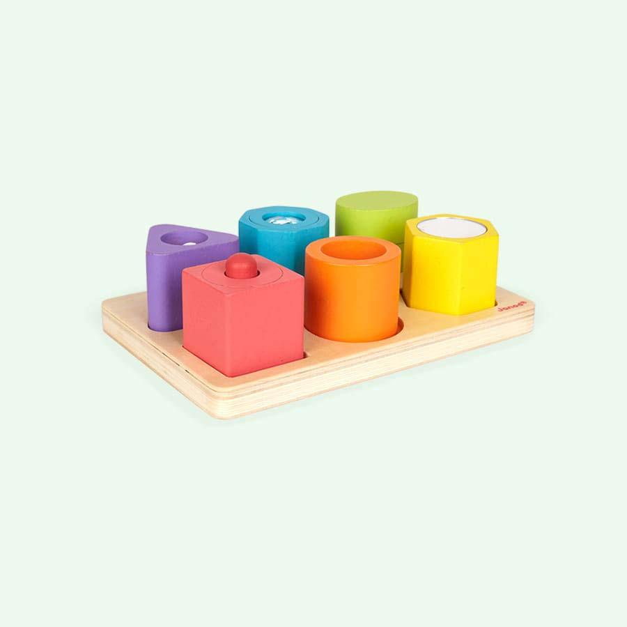 Multi Janod I Wood Shapes & Sounds 6 Block Puzzle