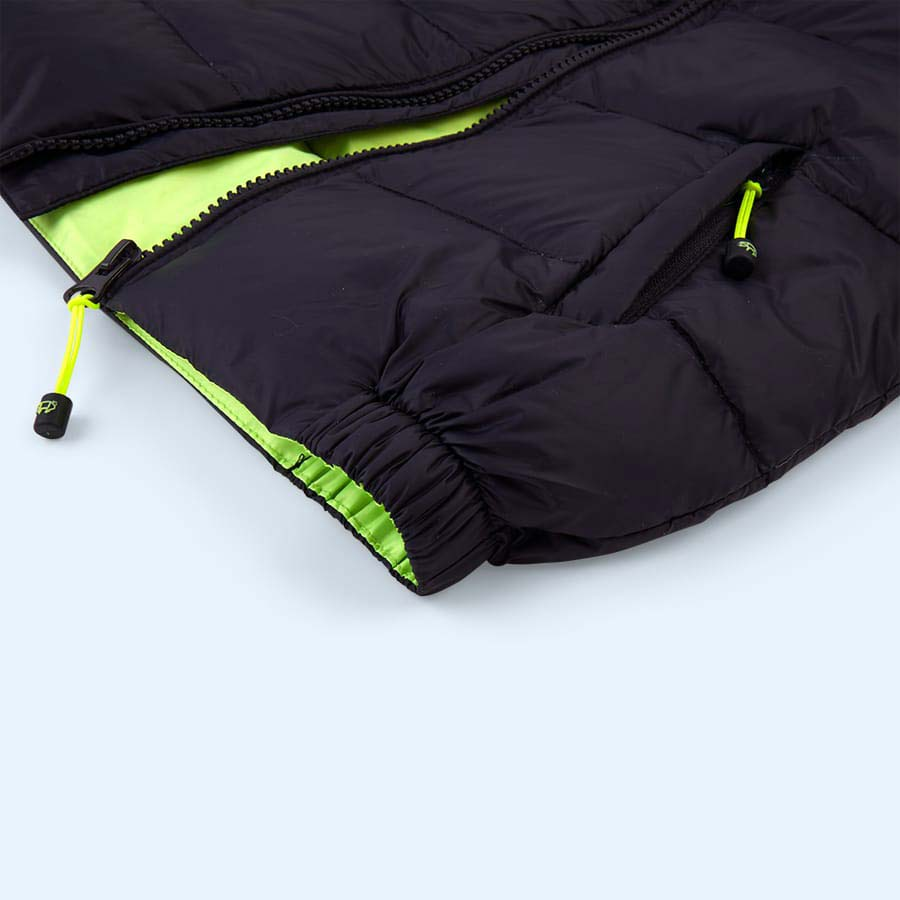 Navy / Fluro Lime Toastie Pig Puffer Jacket