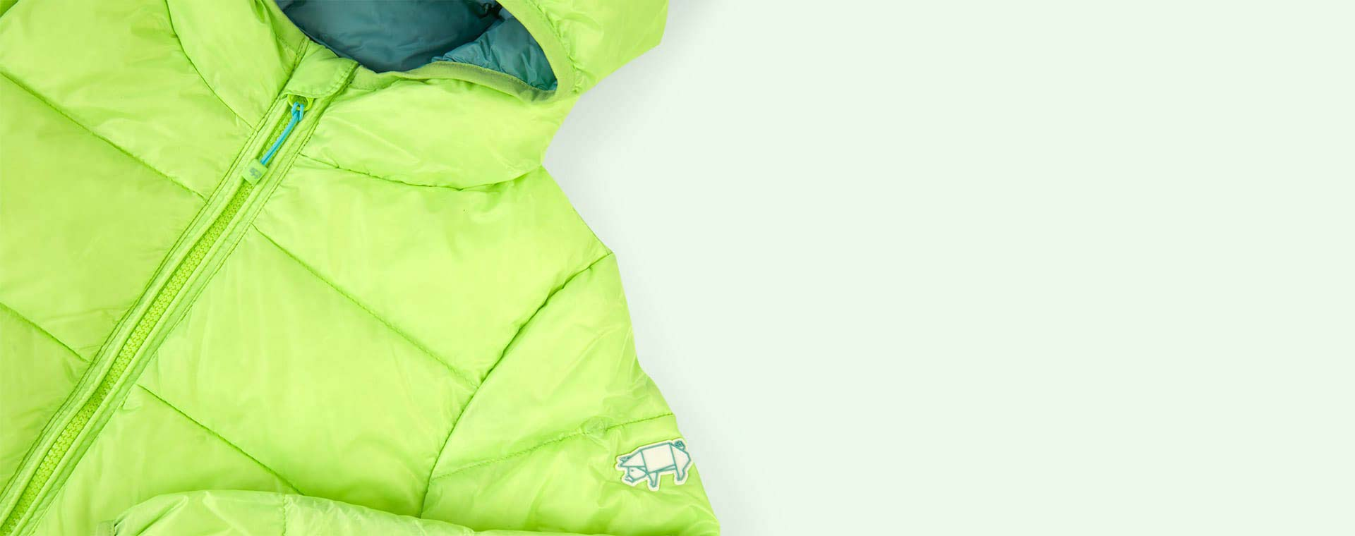 Lime / Cloud blue Toastie Pig Puffer Jacket