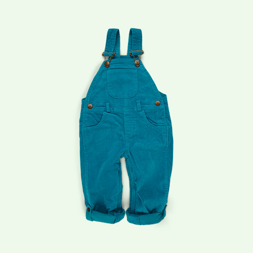 Teal Dotty Dungarees Corduroy Dungarees