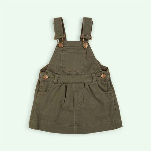 Olive Dotty Dungarees Brushed Twill Dress