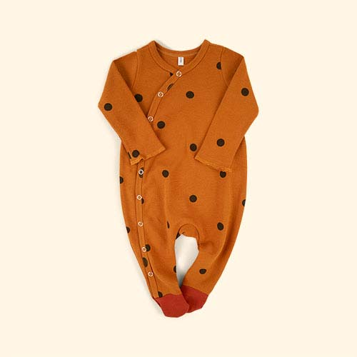 Rust Dots Organic Zoo Sleepsuit