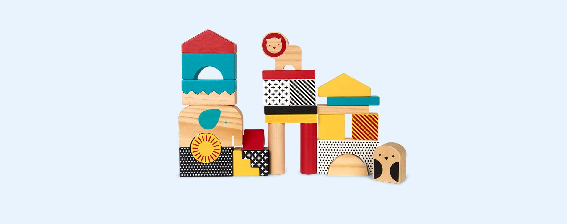Wood Petit Collage Animal Town Wooden Blocks