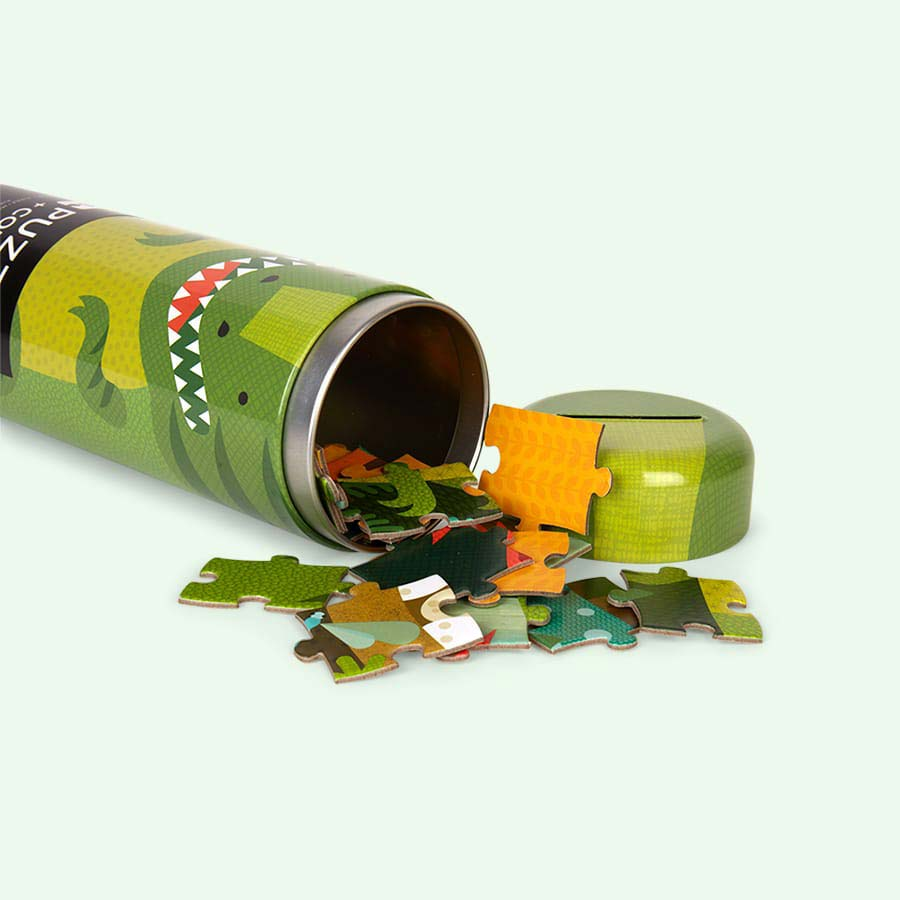 Dinosaur Petit Collage Tin Canister Puzzle
