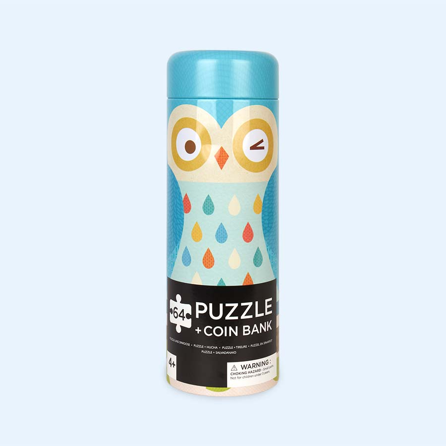 Owl Family Petit Collage Tin Canister Puzzle