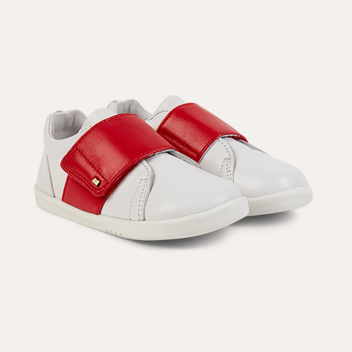 White Red Bobux I-Walk Boston Trainer